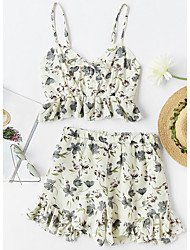cheap -Women's Daily Casual Summer Tank Top Pant Suits,Floral One Shoulder Sleeveless Polyester