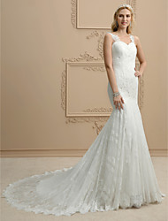 cheap -Mermaid / Trumpet Straps Chapel Train Lace Wedding Dress with Appliques by LAN TING BRIDE®