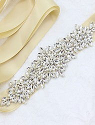 Satin/ Tulle Wedding Special Occasion Sash With Rhinestone Crystal Imitation Pearl Appliques