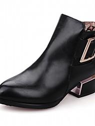 Damen Schuhe Kunstleder Herbst Winter Komfort Neuheit Stiefeletten Stiefel Blockabsatz Spitze Zehe Booties / Stiefeletten Schnalle Für