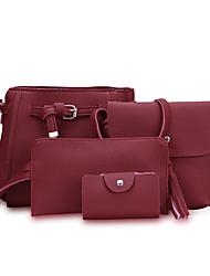 cheap -Women Bags PU Bag Set Zipper for Shopping Casual All Seasons Red Blushing Pink Dark Gray Gray Brown