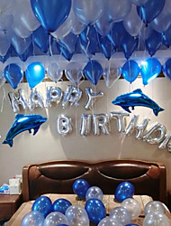 "cheap -100 Latex Balloons And ""Happy  Birthday "" Alphabet Couple Blue Dolphins Aluminum Film Balloons"