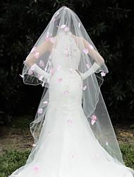 Uma Camada Borda com aplicação de Renda Véus de Noiva Véu Cotovelo Véu Capela Com Apliques Tule
