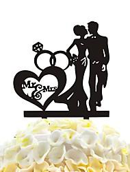 gli amanti del bastone della torta acrilica e gli accessori della decorazione della torta del cuore