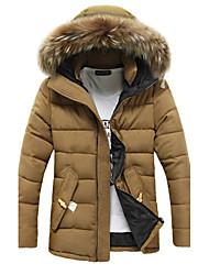 Herren Gefüttert Mantel,Standard Einfach Lässig/Alltäglich Solide-Baumwolle Baumwolle Langarm
