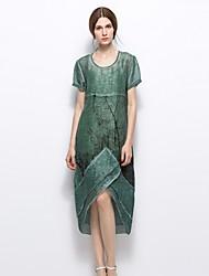 Women's Casual/Daily Vintage A Line Dress,Geometric Round Neck Asymmetrical Short Sleeves Silk Linen Summer Mid Rise Inelastic Medium