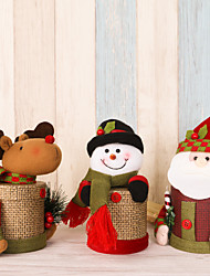 cheap -2pcs/lot Lovely Flax Gift Box Christmas Candy Box Santa Claus Deer Snowman Christmas Gift Box Christmas Decorations