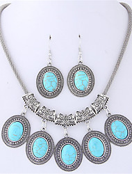 cheap -Women's Jewelry Set Earrings Necklace - Vintage Fashion Oval Black Red Turquoise For Casual