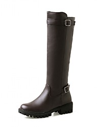 Women's Shoes Leatherette Fall Winter Fashion Boots Boots Chunky Heel Round Toe Knee High Boots Buckle For Casual Office & Career Brown