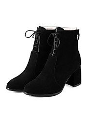 cheap -Women's Shoes Suede Fall / Winter Comfort / Novelty / Fashion Boots Boots Chunky Heel Pointed Toe Booties / Ankle Boots Zipper / Lace-up