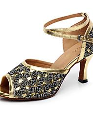 Women's Latin Tulle PU Heel Indoor Buckle Splicing Gold Silver Customizable