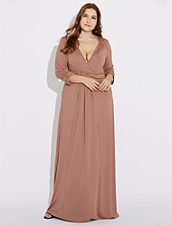cheap -Women's Plus Size Casual Loose Sheath Dress - Solid Colored High Rise Maxi Deep V