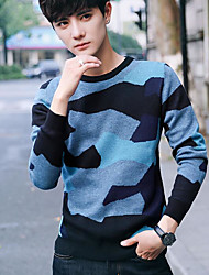cheap -Men's Going out Regular Pullover,Print Round Neck Long Sleeves Cotton Winter Medium Micro-elastic