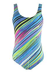 Women's Halter One-piece Plunging Neckline Retro High Rise Color Block Floral Sport Striped