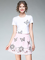 Manches Ajustées Jupe Costumes Femme,Papillon Sortie Décontracté / Quotidien Chic de Rue Eté Manches Courtes Col Arrondi non élastique