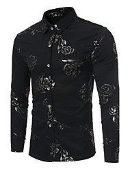 cheap -Men's Slim Shirt - Floral Print Classic Collar