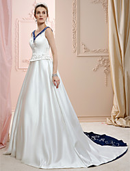cheap -A-Line / Princess V Neck Court Train Satin Made-To-Measure Wedding Dresses with Beading / Embroidery by LAN TING BRIDE®