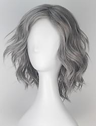 Недорогие -Парики из искусственных волос / Маскарадные парики Свободные волны Искусственные волосы Серый Парик Муж. Короткие Моноволокно / L-образный / Половина монолитным Серый / Без шапочки-основы