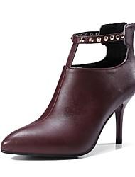 preiswerte -Damen Schuhe maßgeschneiderte Werkstoffe Winter Herbst Komfort Pumps Stiefel Stöckelabsatz Spitze Zehe Geschlossene Spitze Booties /