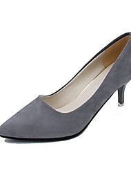 Women's Heels Basic Pump Summer Suede Dress Stiletto Heel Light Pink Light Grey Dark Grey Black 3in-3 3/4in