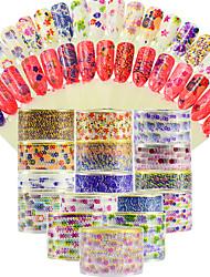 abordables -16pcs Paillettes Motif Décoration artistique / Rétro Autocollants 3D pour ongles Autocollant Produits DIY 3D Modèle d'estampage d'ongles
