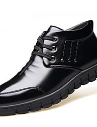 abordables -Hombre Oxfords Confort Zapatos formales Forro de piel Forro de pelusa Otoño Invierno Cuero real Cuero Casual Con Cordón Tacón Plano Negro