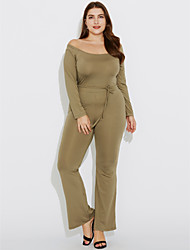 Women's Off The Shoulder|Wide Leg Plus Size Bootcut JumpsuitsCasual/Daily / Club Sexy / Simple Solid Backless Slim Boat Neck Long Sleeve Mid Rise