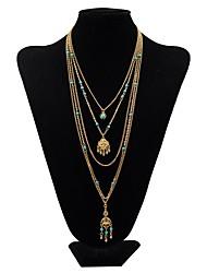 Mulheres Colares com Pendentes colares em camadas Forma Geométrica Turquesa Liga Básico Personalizado Vintage Multi Camadas Jóias Para