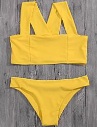 cheap -Women's Solid Solid Bikini Swimwear Yellow