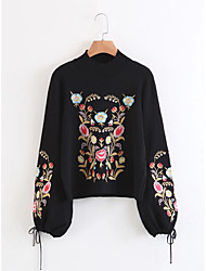 cheap -Women's Daily Going out Cute Casual Embroidered Print Solid Crew Neck Pullover, Long Sleeves Spring Fall Wool Cotton Lamb Fur