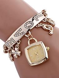 baratos -Mulheres Bracele Relógio Chinês Impermeável / Criativo Aço Inoxidável Banda Amuleto / Casual / Fashion Prata / Dourada