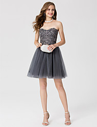 cheap -A-Line Princess Sweetheart Short / Mini Lace Tulle Cocktail Party / Homecoming / Prom / Holiday Dress with Crystal Detailing by TS