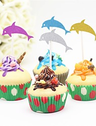 cheap -Cake Topper Beach Theme Animals Baby Shower Others Romance Birthday Wedding Paper Wedding Birthday with 12 PVC Bag
