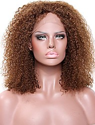 Women Human Hair Lace Wig Brazilian Remy Glueless Lace Front 180% 150% 130% Density With Baby Hair Kinky Curly Wig Medium Brown Dark