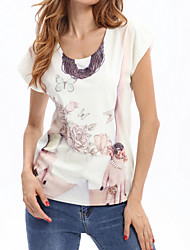 cheap -Women's Going out Sexy Sophisticated Blouse,Floral Round Neck Short Sleeves Polyester