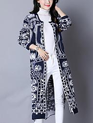 Для женщин На выход На каждый день Простое Шинуазери (китайский стиль) Длинный Кардиган Контрастных цветов,Круглый вырез Длинный рукав