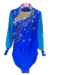 Figure Skating Dress Men's Ice Skating Dress Azure Spandex Chinlon High Elasticity Solid Performance Long Sleeves Skating Wear Ice