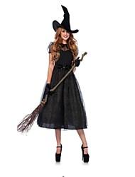 Недорогие -ведьма Косплэй Kостюмы Хэллоуин Фестиваль / праздник Костюмы на Хэллоуин Черный Мода