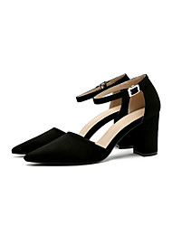 cheap -Women's Heels Ankle Strap Summer Fall Fabric Casual Dress Buckle Chunky Heel Khaki Gray Black 3in-3 3/4in