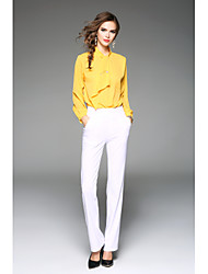 Women's Wedding Formal Work Simple Cute Street chic Spring Fall Blouse,Solid Stand Long Sleeve Red White Yellow Others Medium