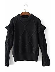 preiswerte -Damen Standard Pullover-Alltag Ausgehen Niedlich Freizeit Solide Rundhalsausschnitt Langarm Acryl Frühling Herbst Dünn Mittel
