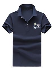 abordables -Hombre Simple Casual/Diario Tallas Grandes Verano Otoño Polo,Cuello Camisero Estampado Manga Corta Algodón Licra Medio