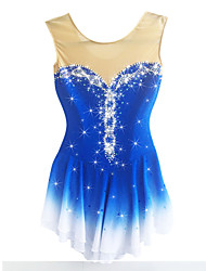 Figure Skating Dress Women's Girls' Ice Skating Dress Aquamarine Spandex Chinlon High Elasticity Solid Performance Long Sleeves Skating