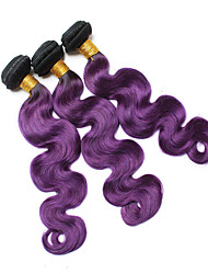 Virgin Indian Ombre Hair Weaves Body Wave Hair Extensions 3 Pieces Black/Blue Black/Purple