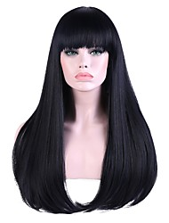 cheap -Women Long Black/Blue Straight Highlighted/Balayage Hair Natural Hairline With Bangs Synthetic Hair Capless Party Wig Halloween Wig