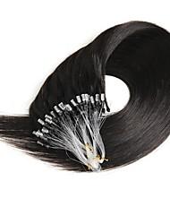 Недорогие -16-24 дюйма 50g микро кольцо петля 100% человеческих волос натуральные мягкие реальные красоты прямые волосы подарок 100strands в одном