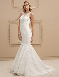 cheap -Mermaid / Trumpet Illusion Neckline Sweep / Brush Train Lace Wedding Dress with Beading Appliques by LAN TING BRIDE®