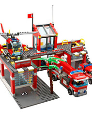 cheap -Toy Car Building Blocks Forklift Fire Engines Fire Engine Vehicle Boys' Toy Gift