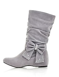 Women's Boots Fashion Boots Fall Winter Fabric Casual Outdoor Low Heel Red Light Grey Under 1in