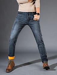 Da uomo A vita medio-alta Semplice Chinoiserie Media elasticità Jeans Pantaloni,Dritto Taglia piccola Tinta unita